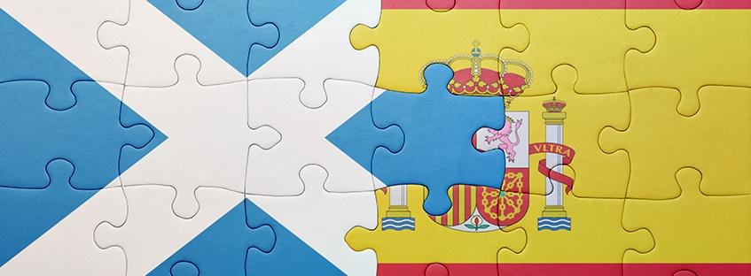 Bandera escocesa y española