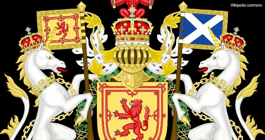 escudo con unicornios en escocia
