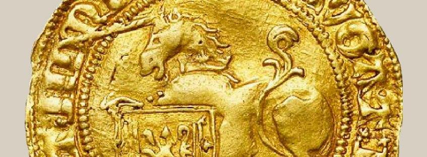 Moneda con unicornio grabado