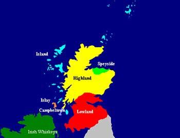 Mapa de regiones del Whisky