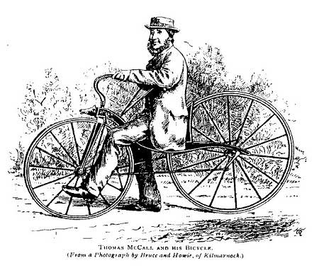 Dibujo de McCall en su bicicleta a pedales. Imagen extraida de Wikipedia.org