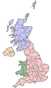 Mapa del Reino Unido. Wikipedia.org