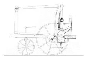 Triciclo a vapor diseñado por William Mordoch. imagen tomada de Wikipedia.org