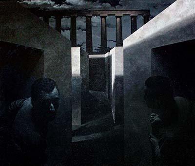 """Laberintos"" 1977. Óleo sobre lienzo - Roberto González Fernández"