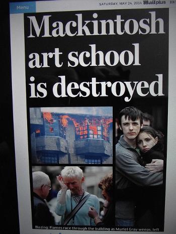 Escuela de Artes de Glasgow durante el incendio del pasado 24 de Mayo de 2014