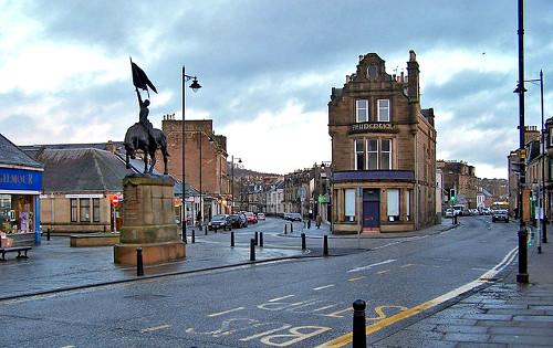 Vista de High Street en la ciudad de Hawick.
