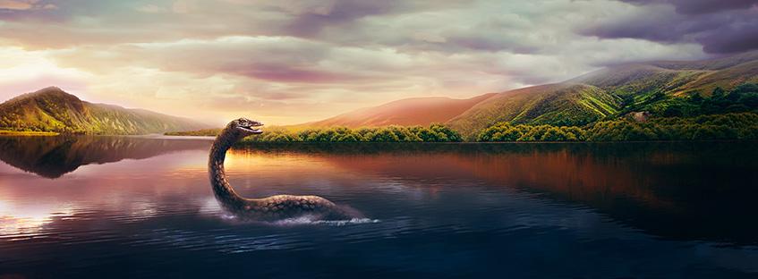 Ilustración del monstruo en el lago Ness