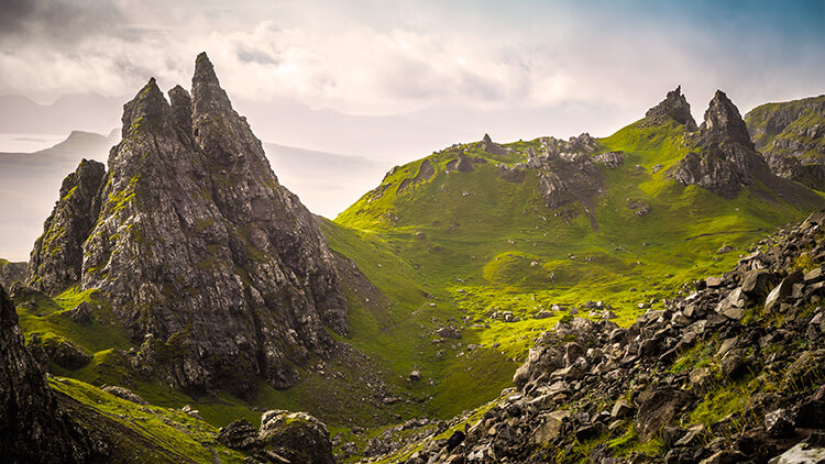 Rocas de Old Man of Storr en la Isla de Skye
